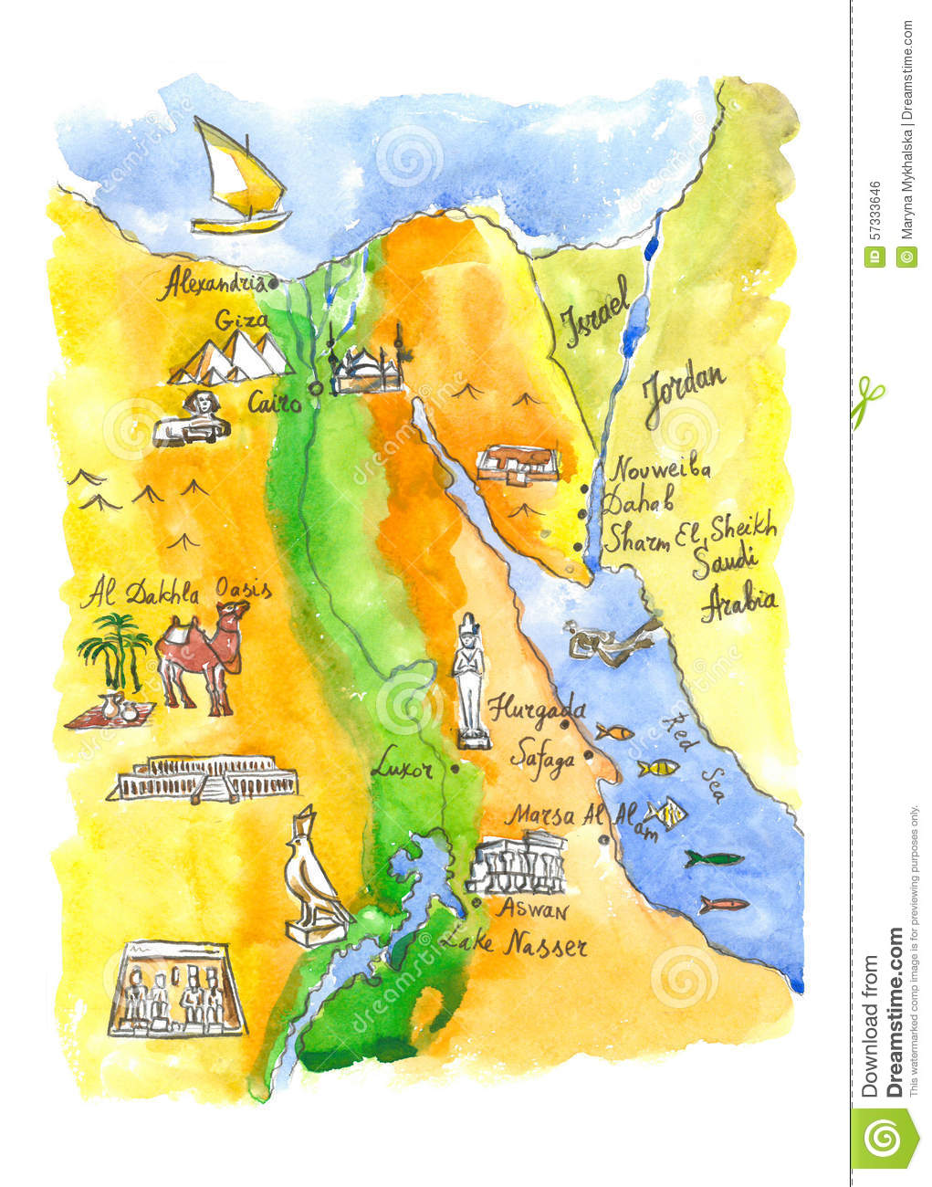 Watercolor Map Of Attractions Egypt Stock Illustration Image - Map of egypt only
