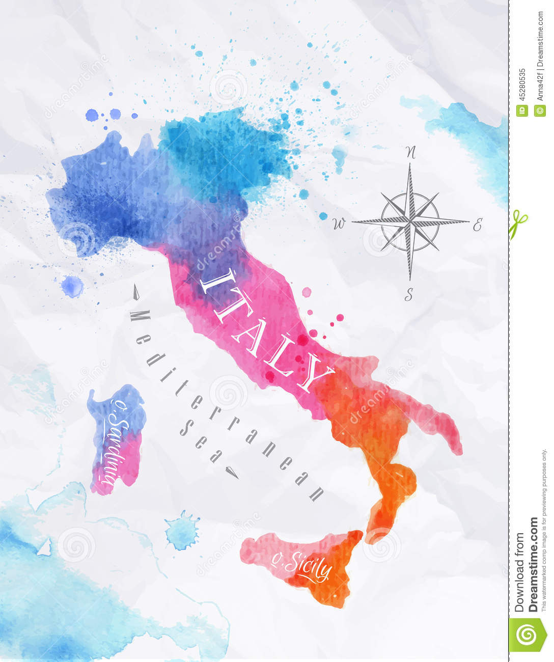Watercolor Map Italy Pink Blue Stock Vector Image - United states watercolor map