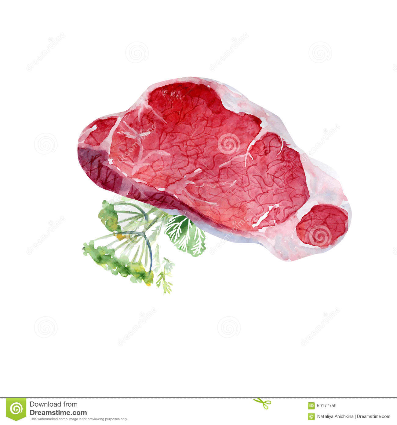 Watercolor meat stock illustration image of menu natural for Artistic cuisine menu