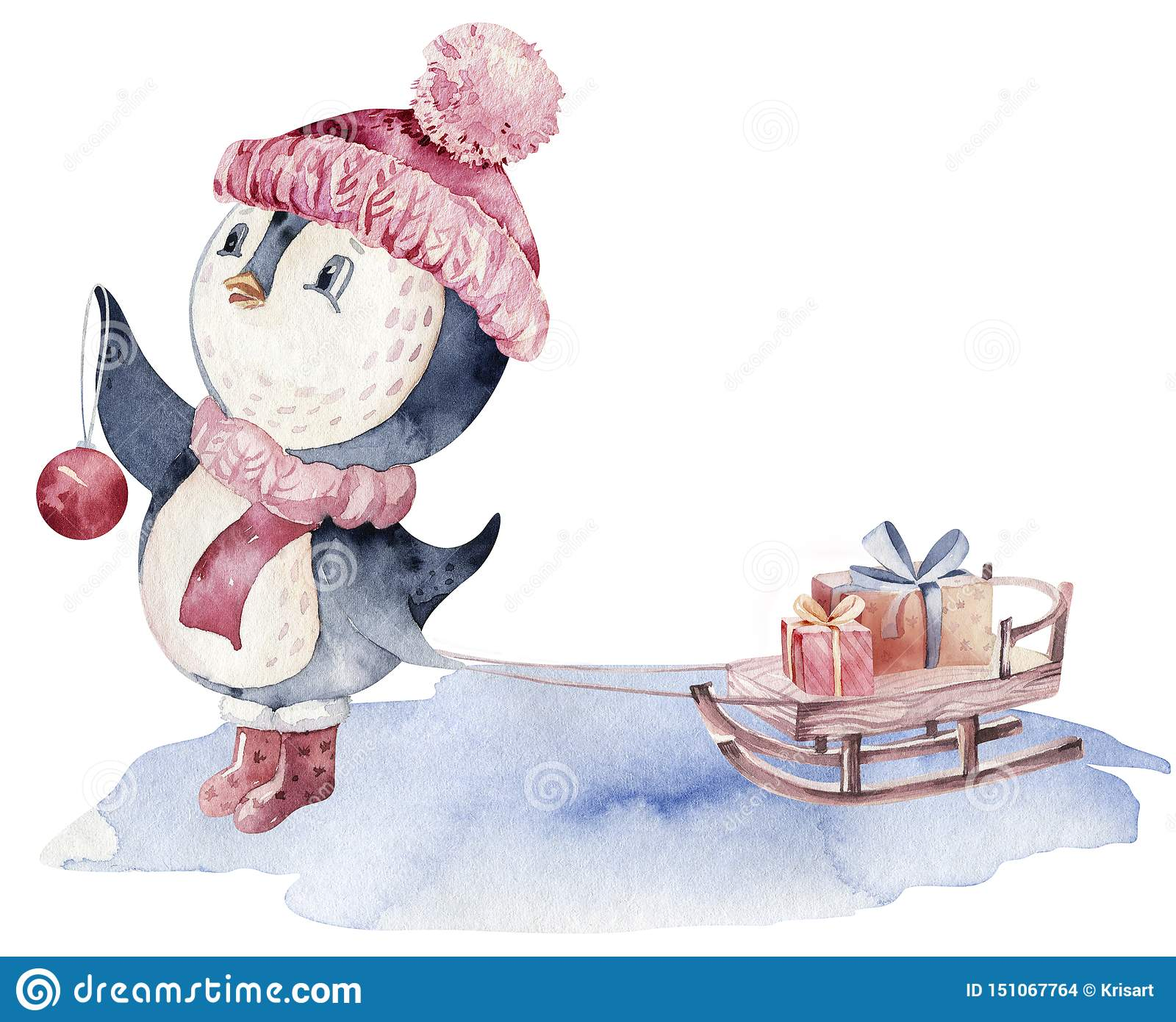 Watercolor merry christmas character penguin illustration. Winter cartoon isolated cute funny animal design card. Snow