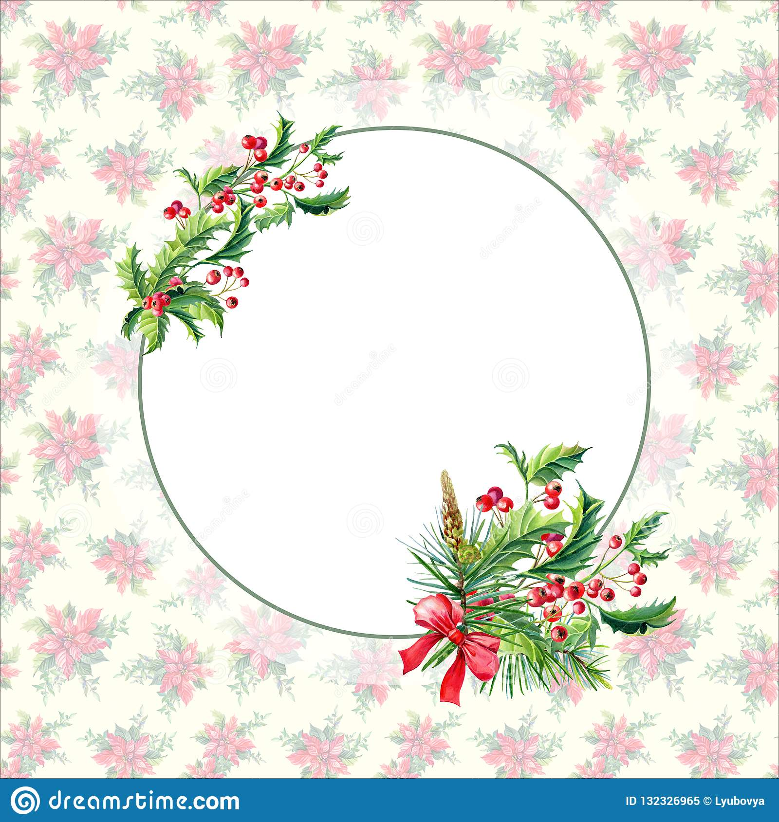 Watercolor Merry Christmas Frame with Holly,leaves,Red berries,pine,spruce,bow on vintage background.New
