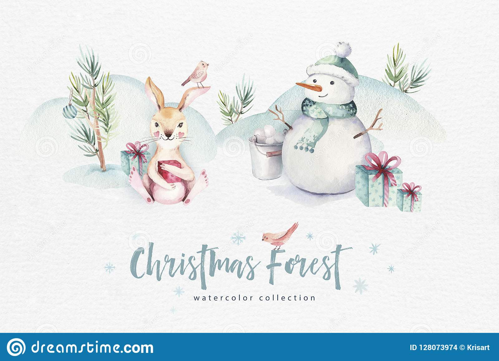 Merry Christmas Animals.Watercolor Merry Christmas Illustration With Snowman Holiday Cute