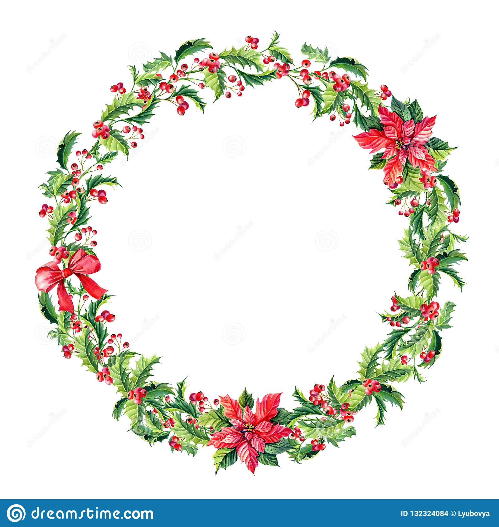 Watercolor Merry Christmas Wreath with Red poinsettia flowers,Holly,leaves,berries