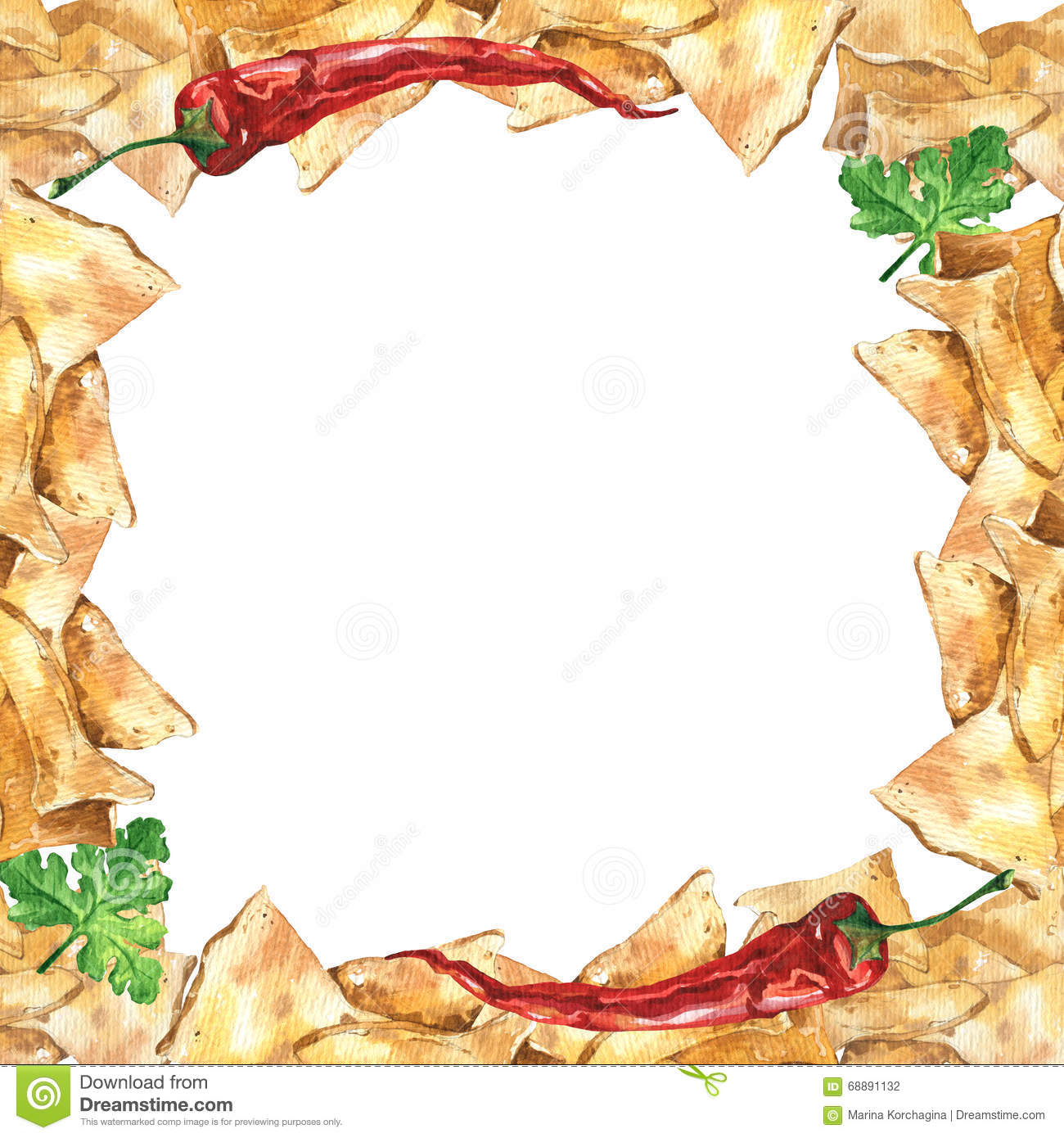 Watercolor Mexican Nachos And Salsa Sauce Frame Mexican