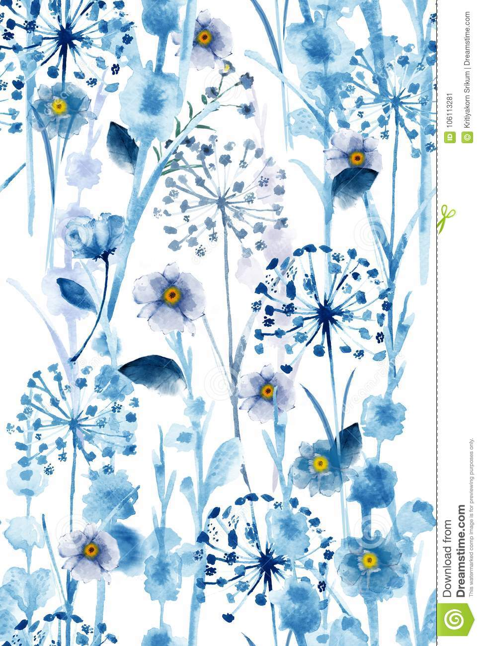 Watercolor Monotone In Blue Wild Floral Pattern Delicate Flower