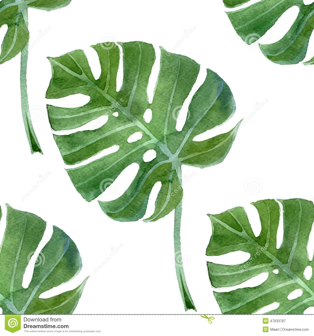 Watercolor Monstera Leaf Seamless Stock Vector Image