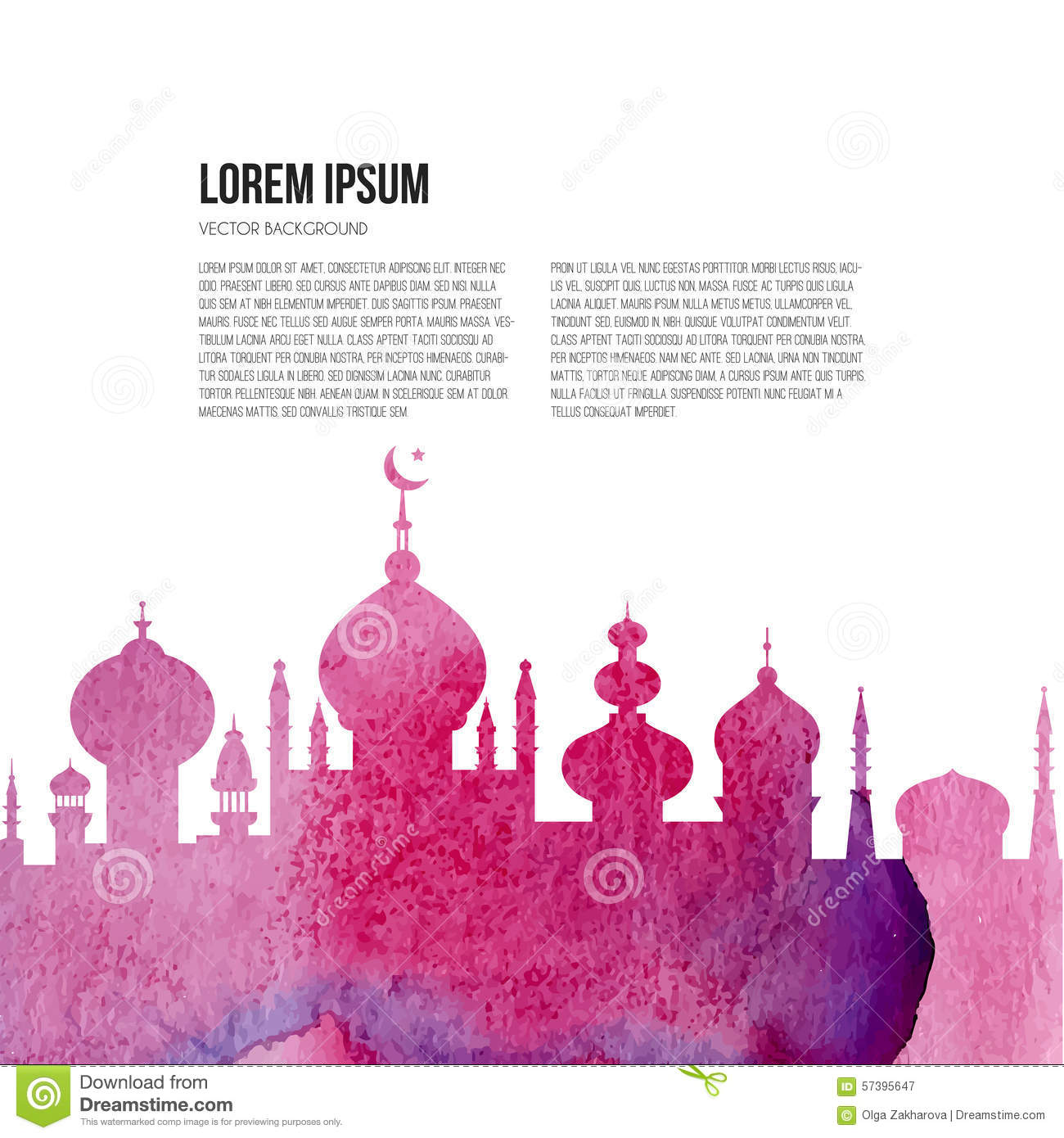 ... with watercolor texture and place for your text. Islamic template on