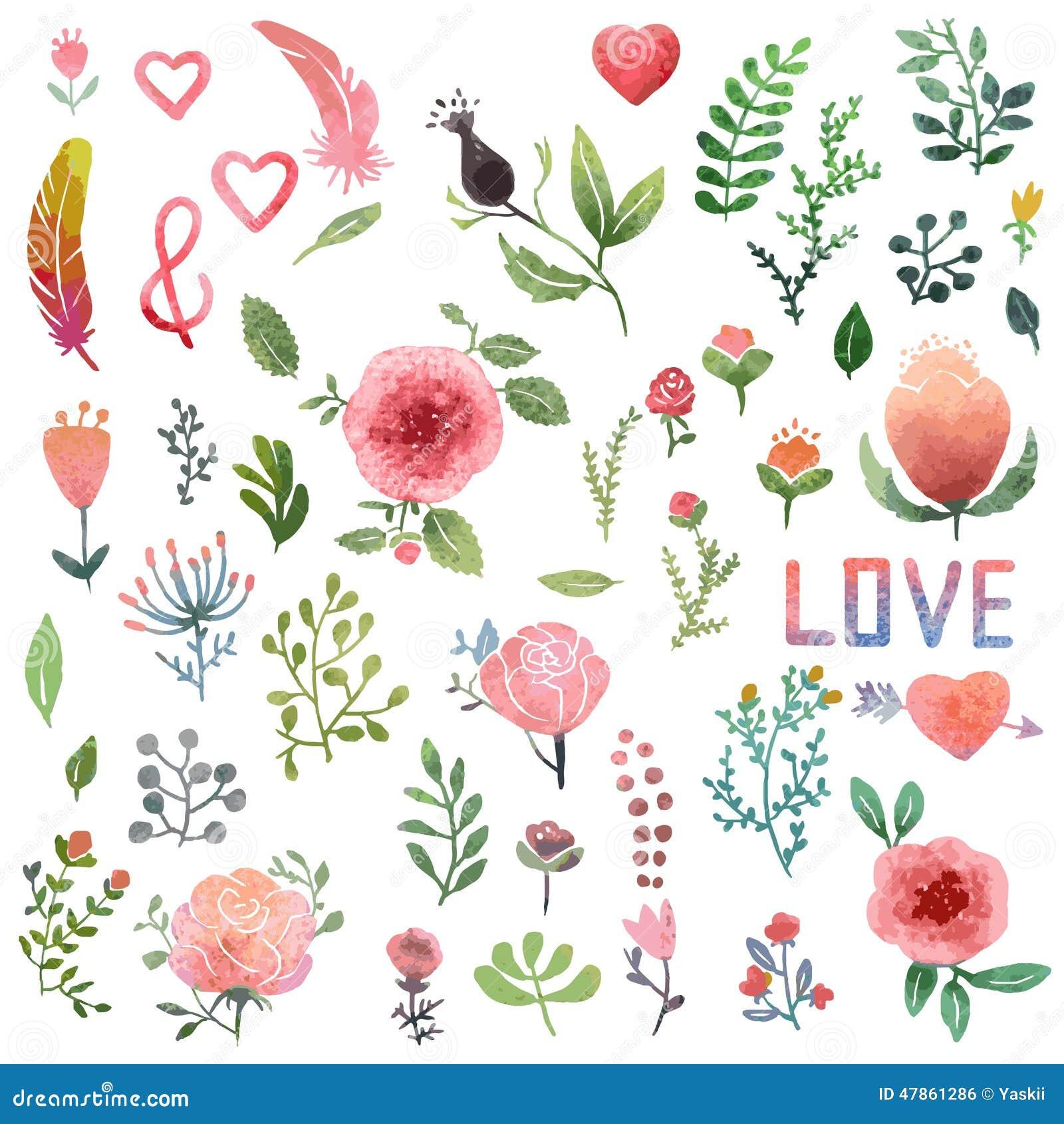 watercolor nature clip art stock vector illustration of garden