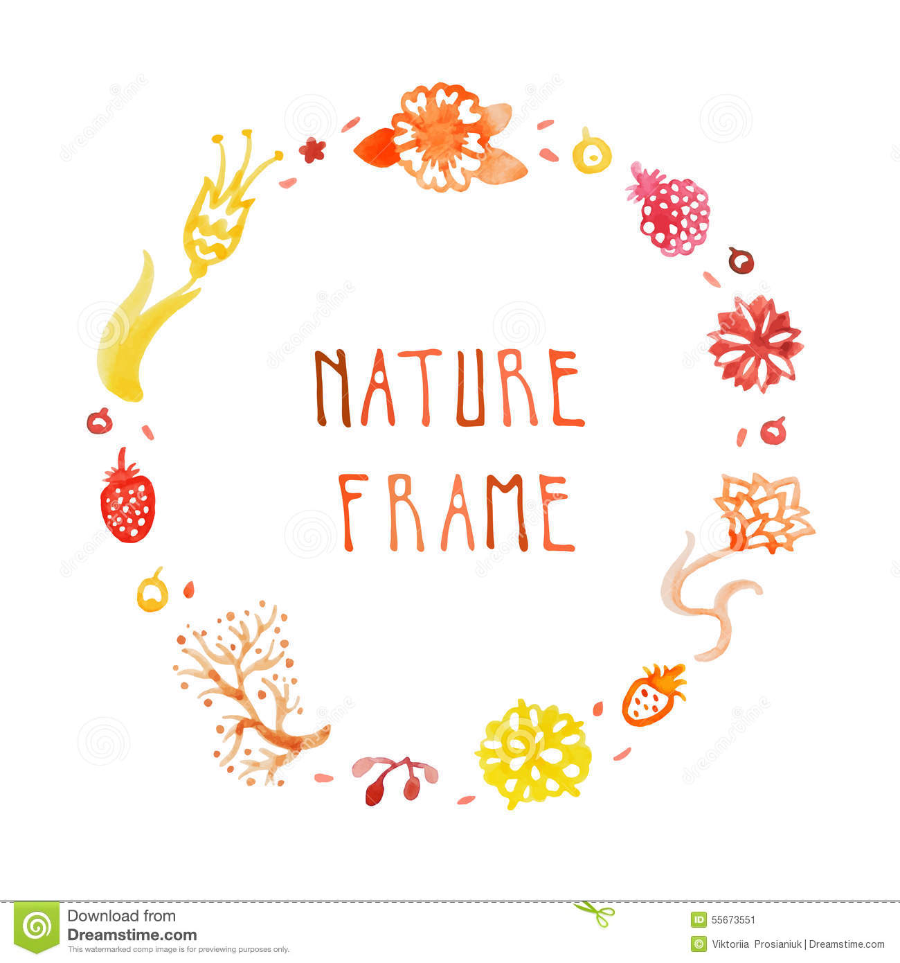Watercolor nature vector frame with handwritten text with flowers, berries and plants (orange, red, yellow).
