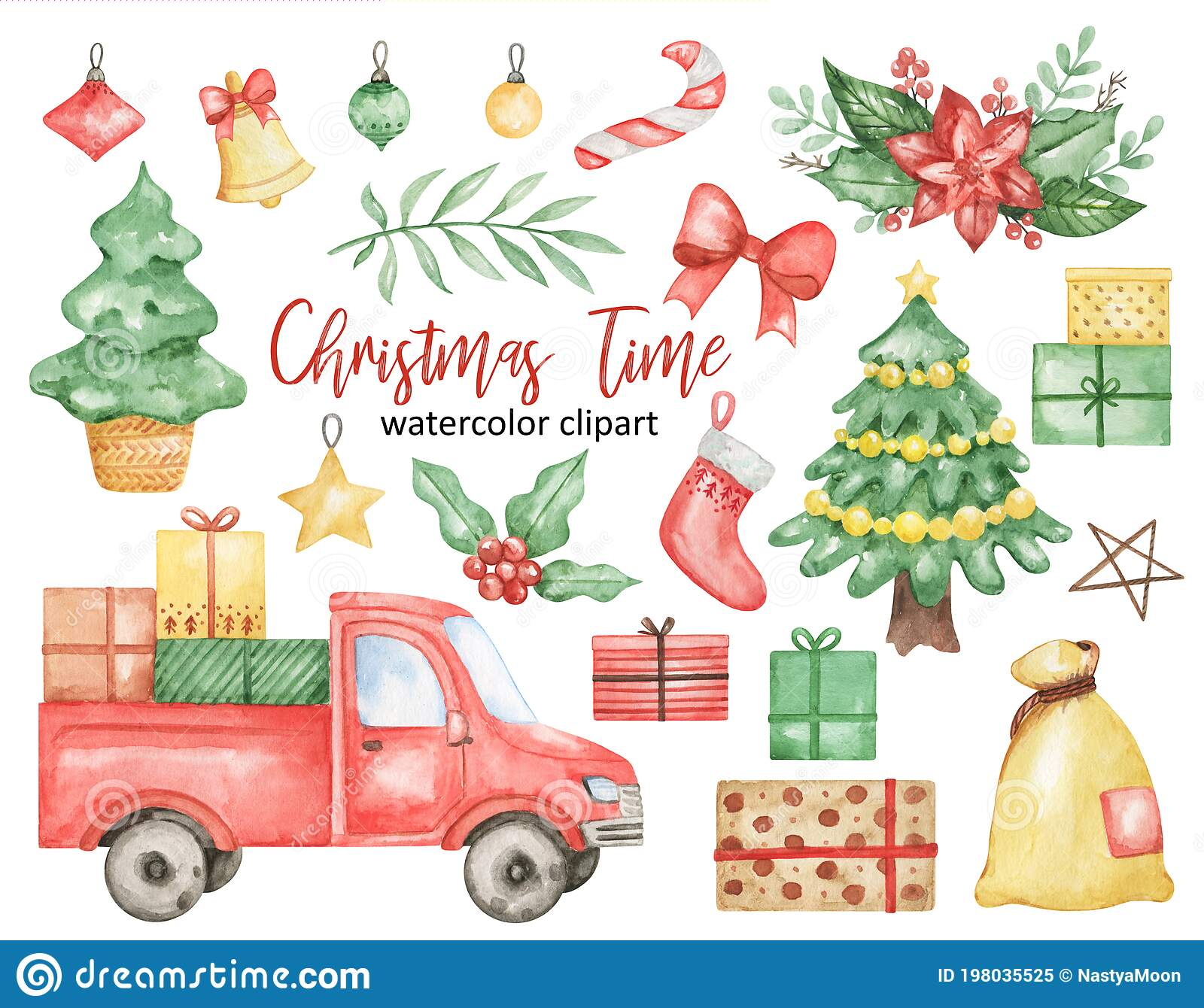 Watercolor Christmas Clipart Graphics Winter Holiday Leaves | Etsy |  Christmas watercolor, Christmas clipart, Clip art