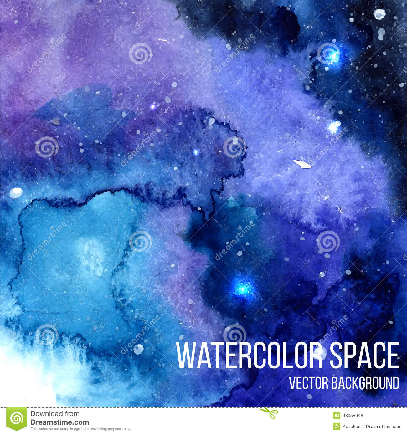 Watercolor Night Sky Background With Glowing Stars Space