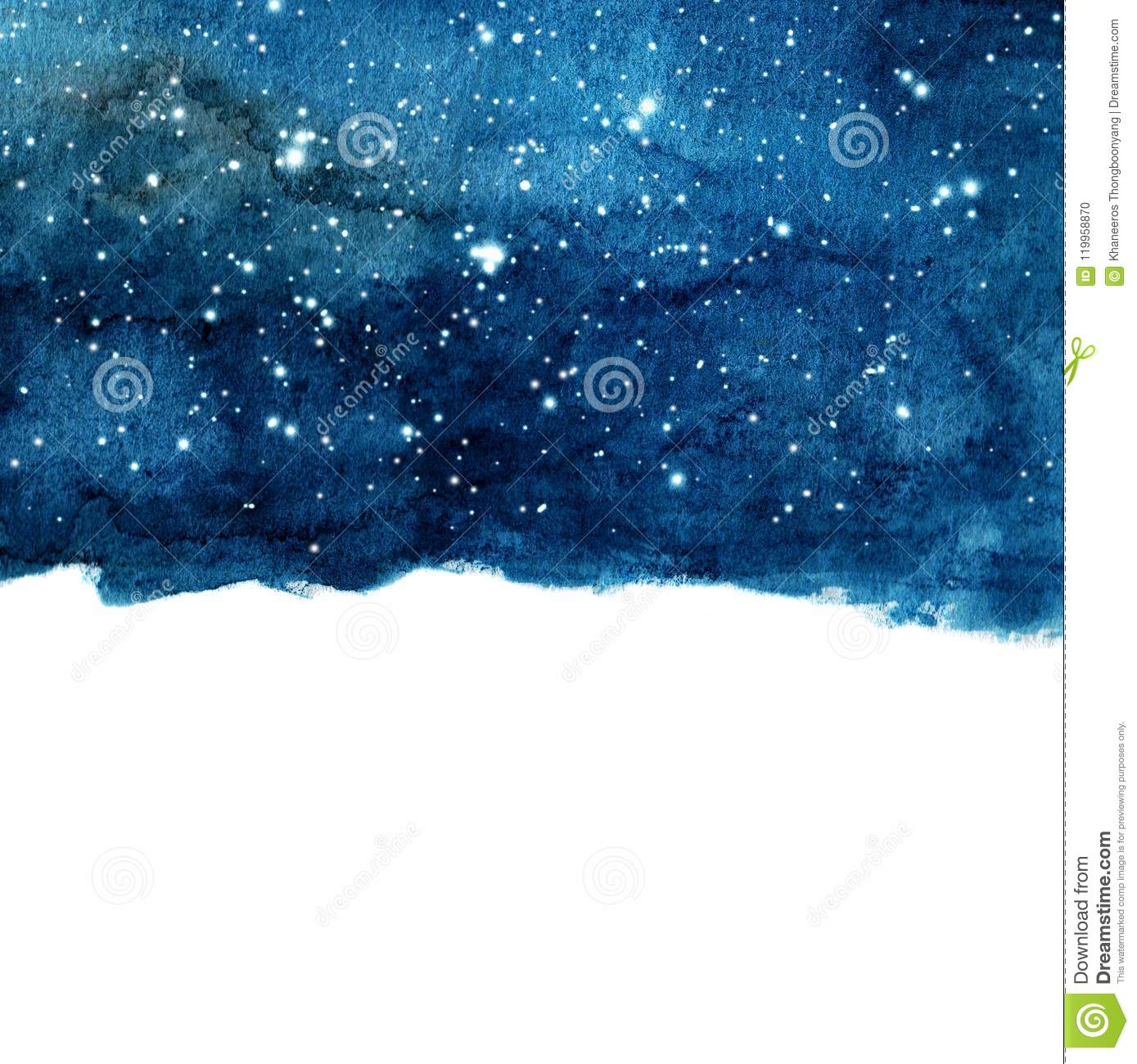 Watercolor Night Sky Background With Stars  Stock