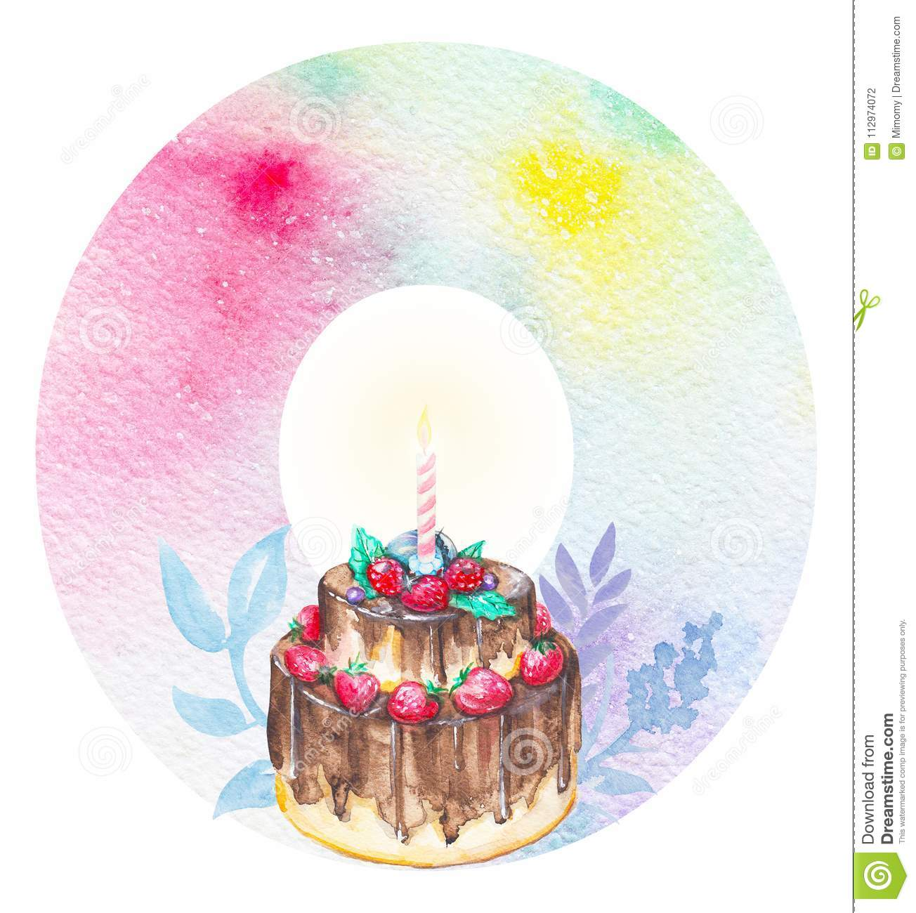 Awe Inspiring Watercolor Number 0 Stock Illustration Illustration Of Cute Funny Birthday Cards Online Aboleapandamsfinfo