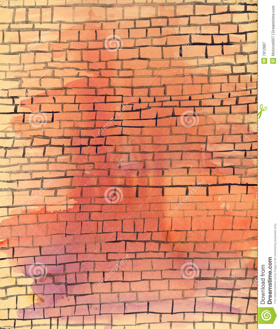 Watercolor Old Brick Wall Stock Image Image Of Architect