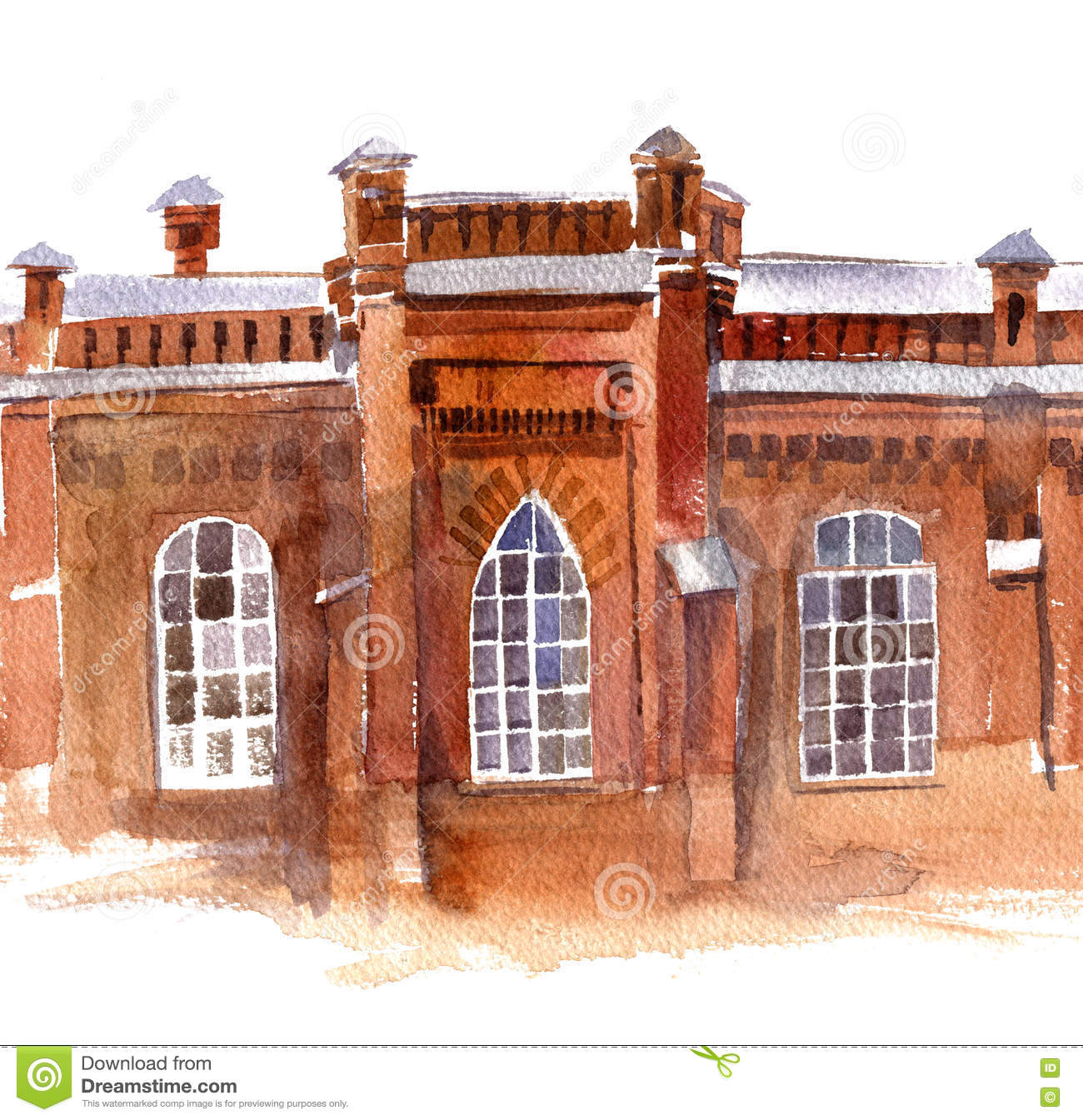 Watercolor Old Red Brick City Buildings. Home, Architecture. Royalty Free  Illustration