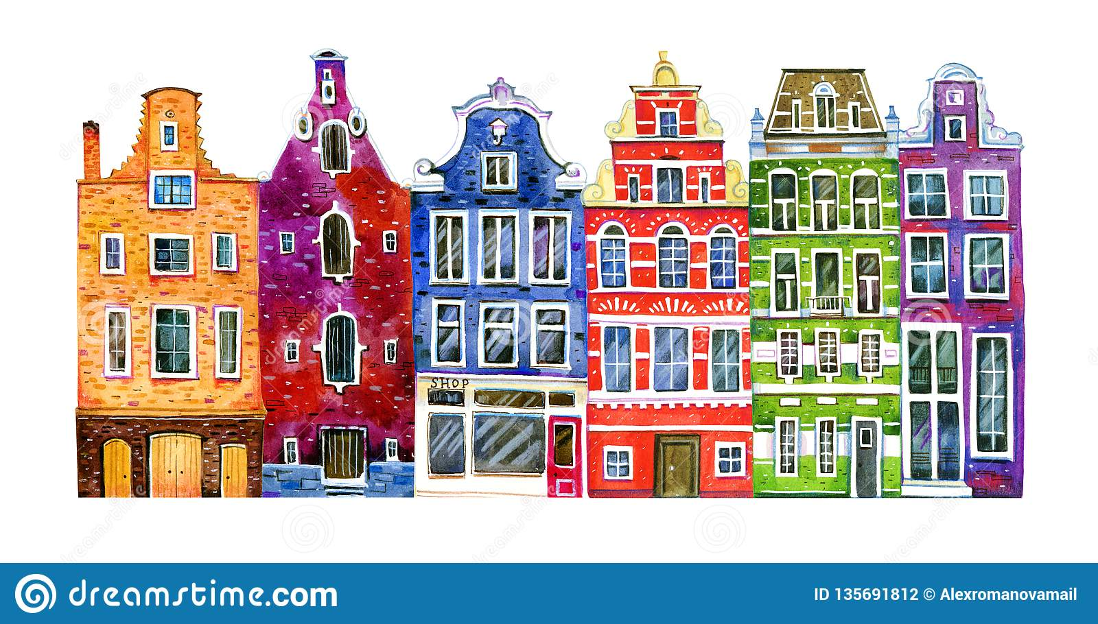 Watercolor old stone europe houses. Amsterdam buildings. Hand drawn cartoon illustration