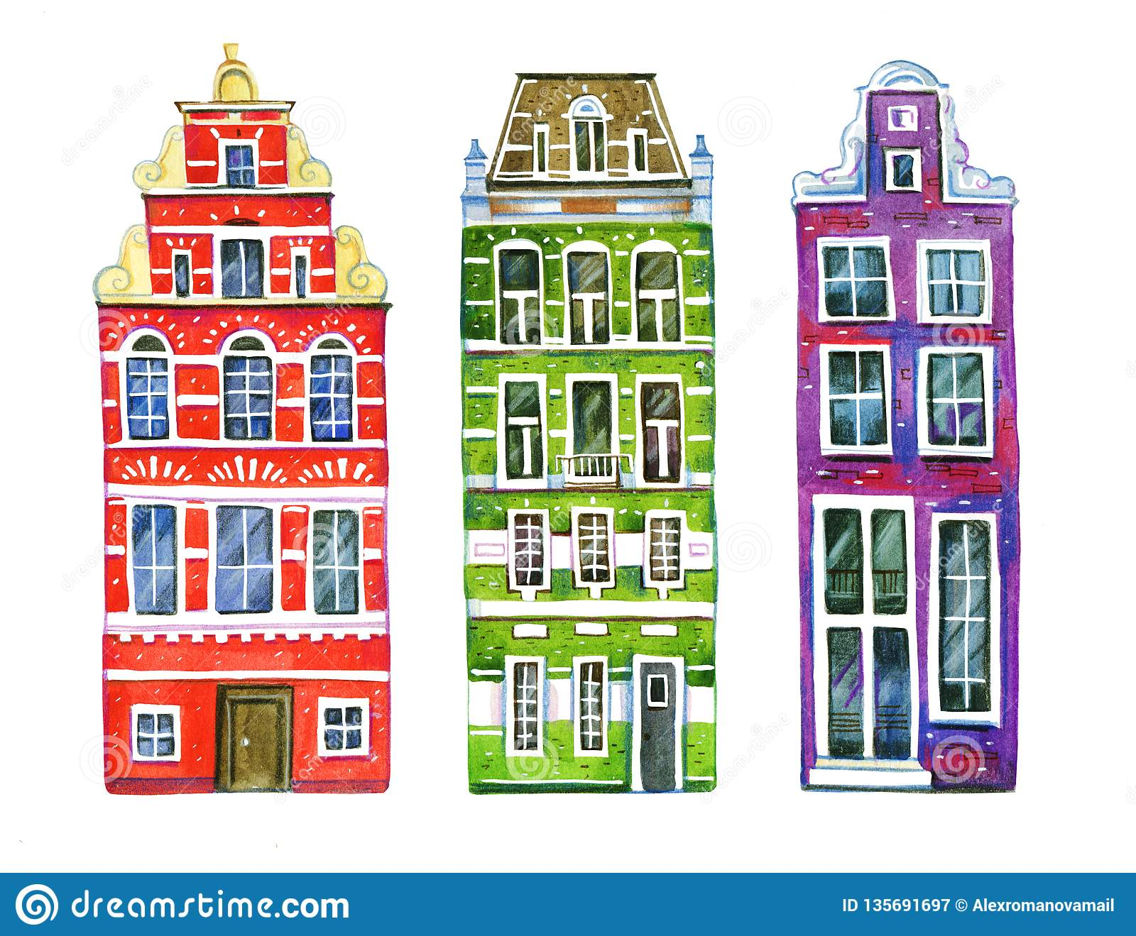 Watercolor old stone europe houses. Three Amsterdam buildings separated in row. Hand drawn cartoon illustration