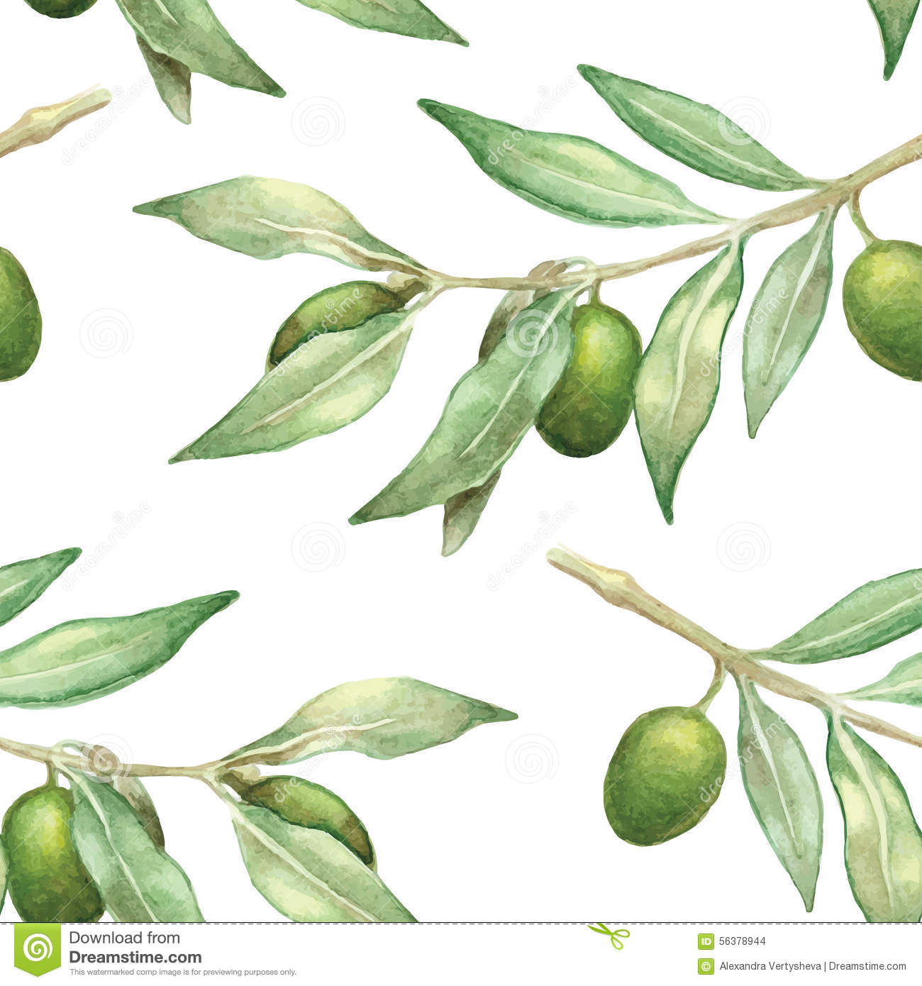 Watercolor Olive Branch Seamless Pattern Stock Vector - Illustration ...