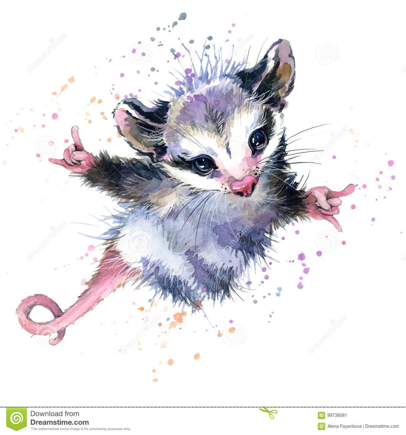 Watercolor Opossum Illustration Cute Fashion Tee Shirt Design