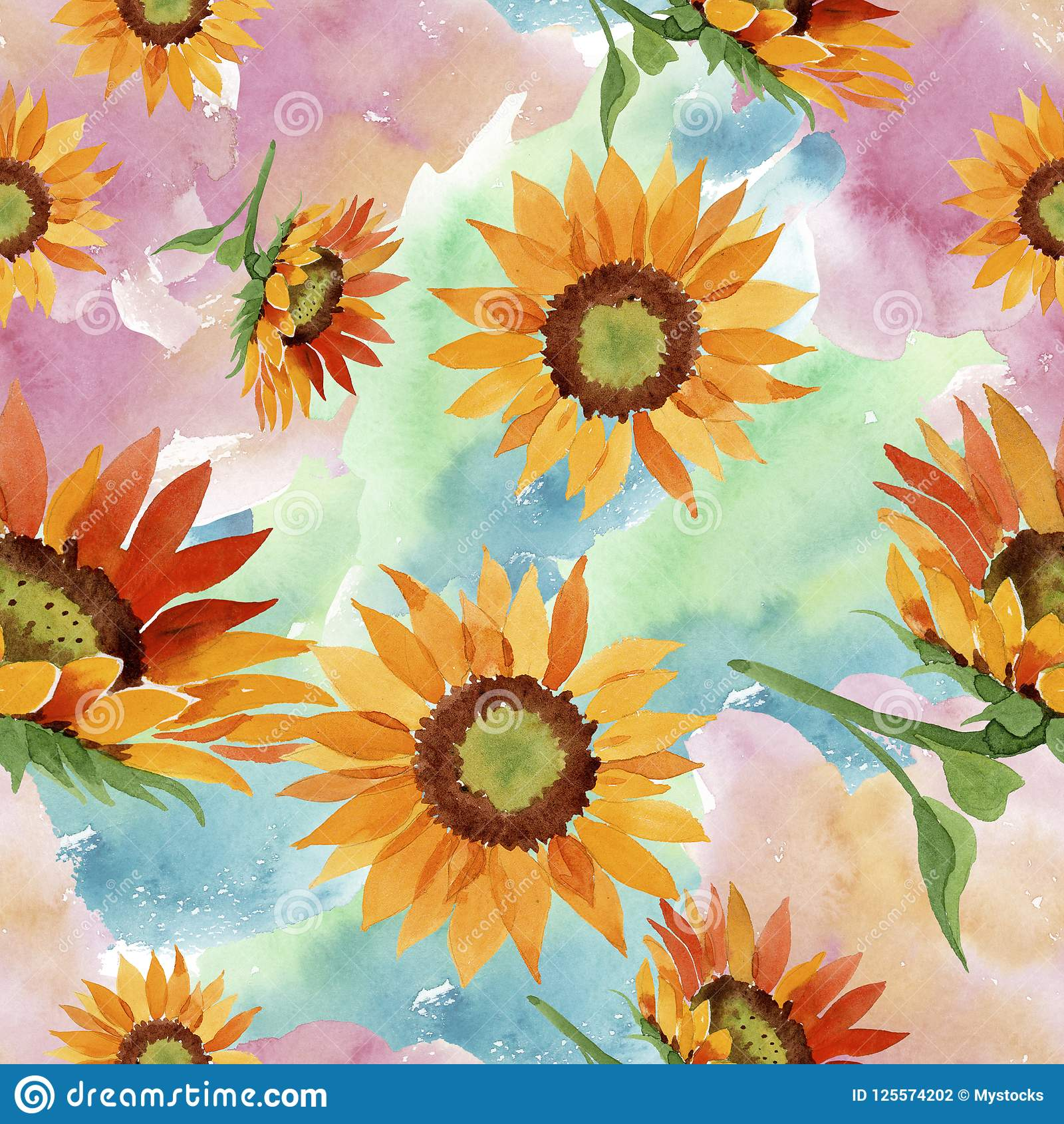 Watercolor Orange Sunflower Flower Floral Botanical Flower