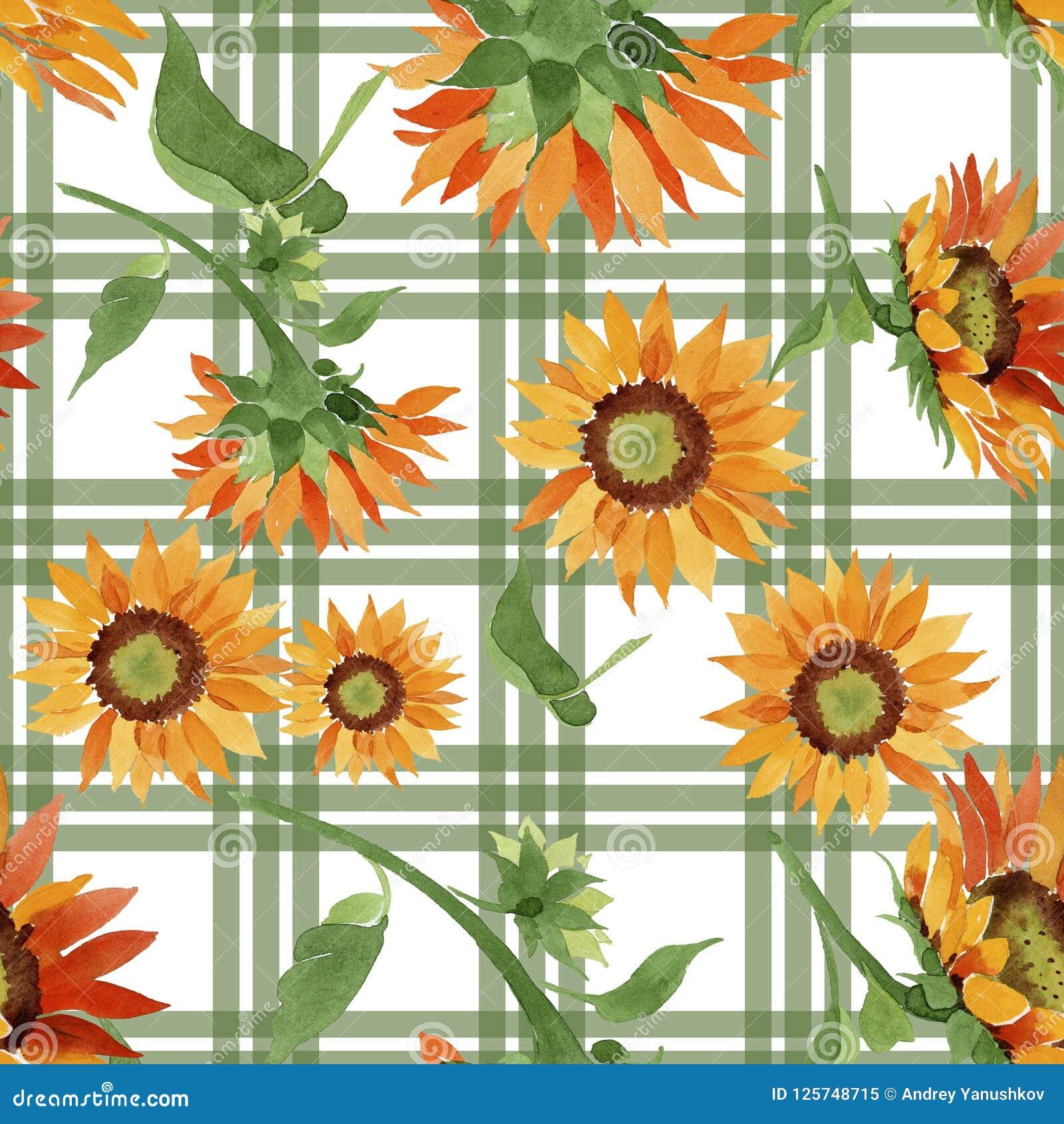 Download Watercolor Orange Sunflower Flower Floral Botanical Seamless Background Pattern Stock Illustration