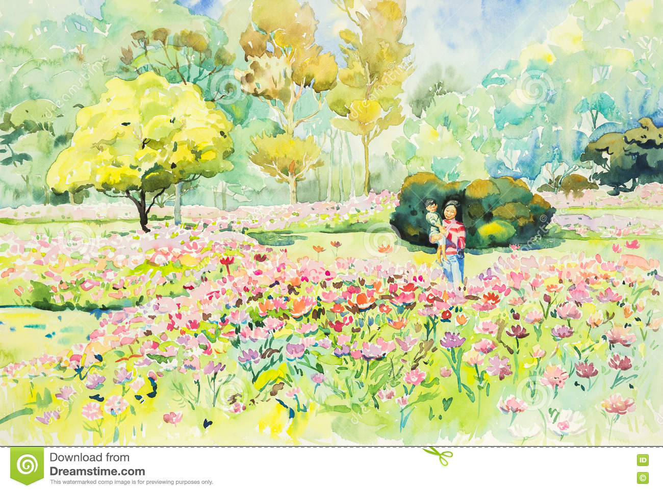Watercolor original landscape painting flower garden in for Jardin 7 colores