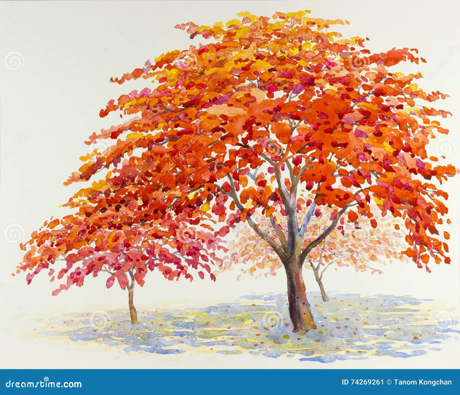Watercolor Original Landscape Painting Red Orange Color