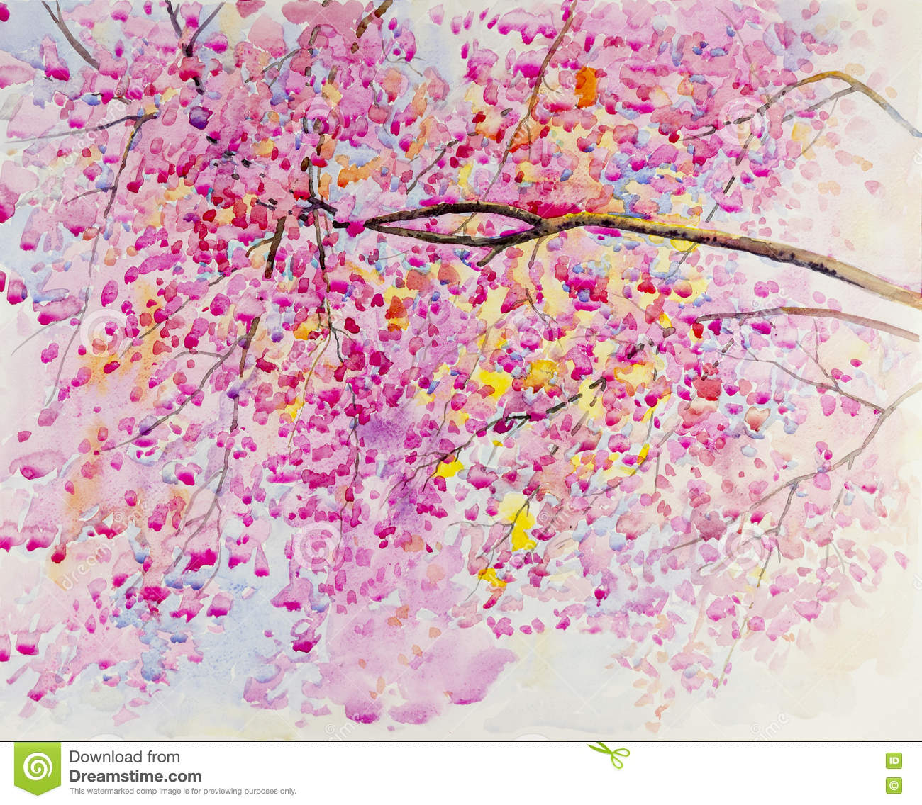 Abstract Watercolor Landscape Original Painting Pink Color Of Paper