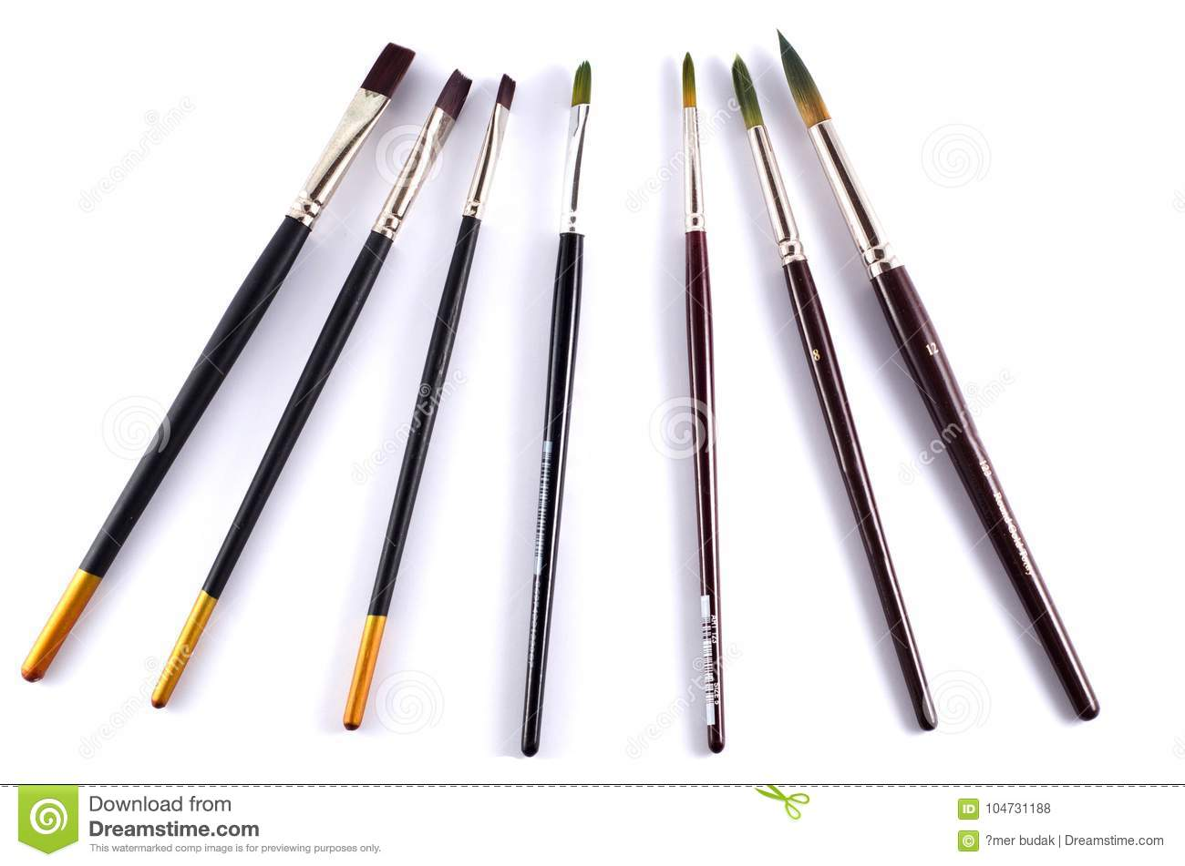 Watercolor Paint Brushes Stock Photo Image Of Number