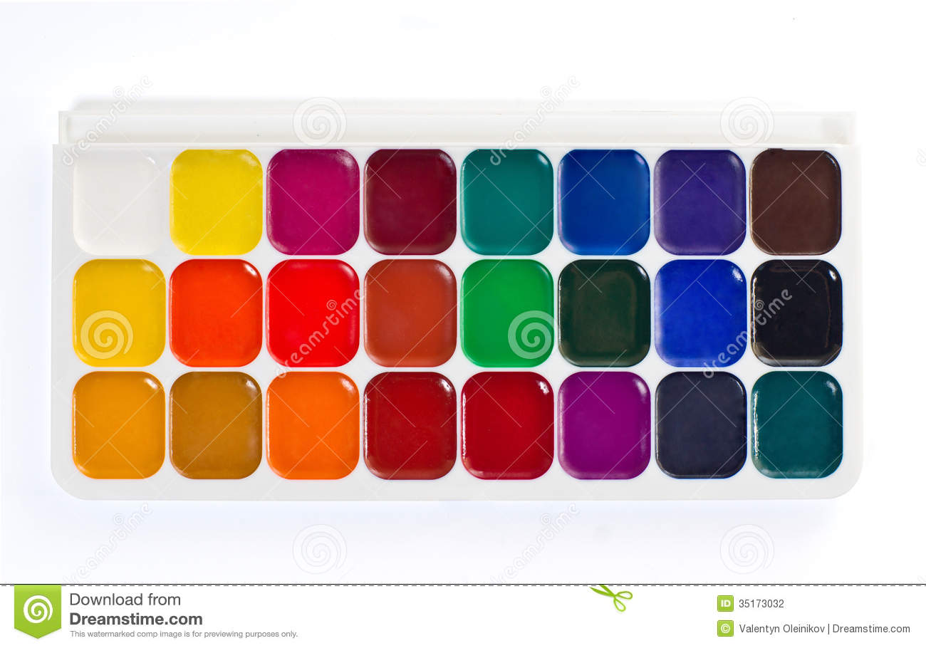 watercolor paint palette stock photography image 35173032. Black Bedroom Furniture Sets. Home Design Ideas