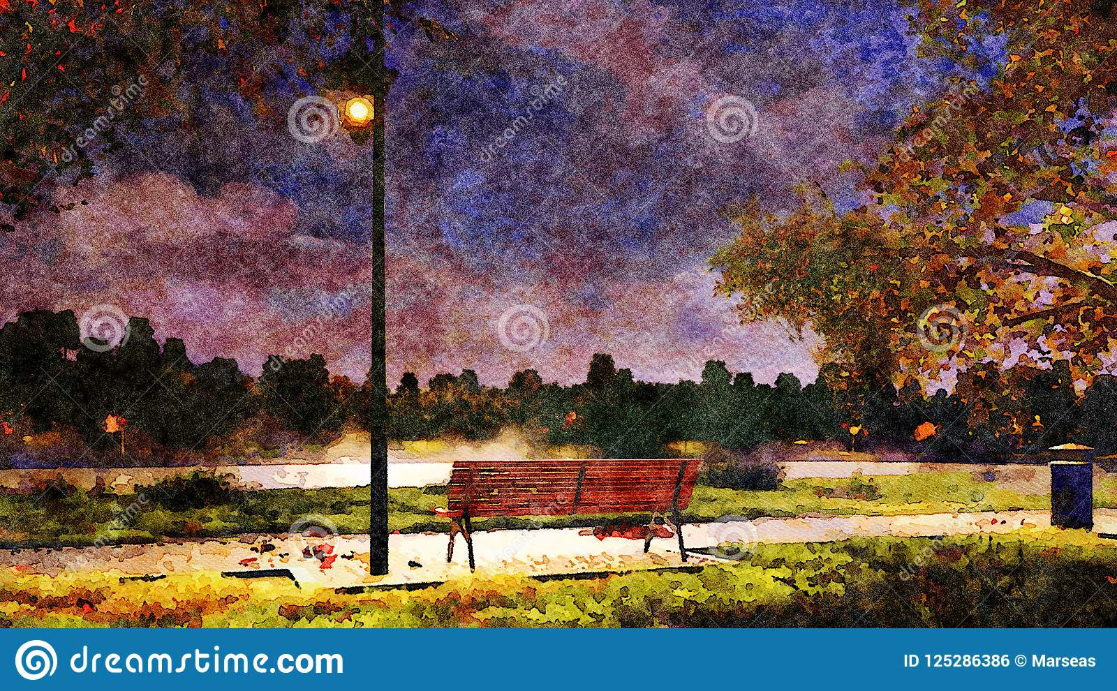 Bench In Park At Autumn Night Watercolor Landscape Stock