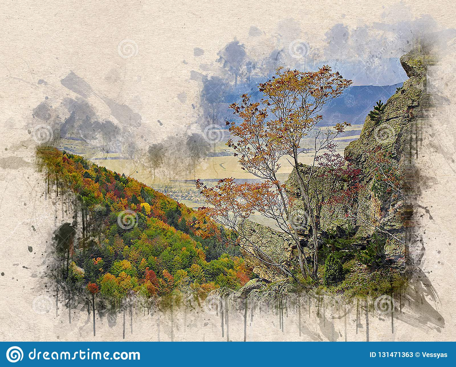 Watercolor Painted Beautiful Autumn Forest Stock Vector