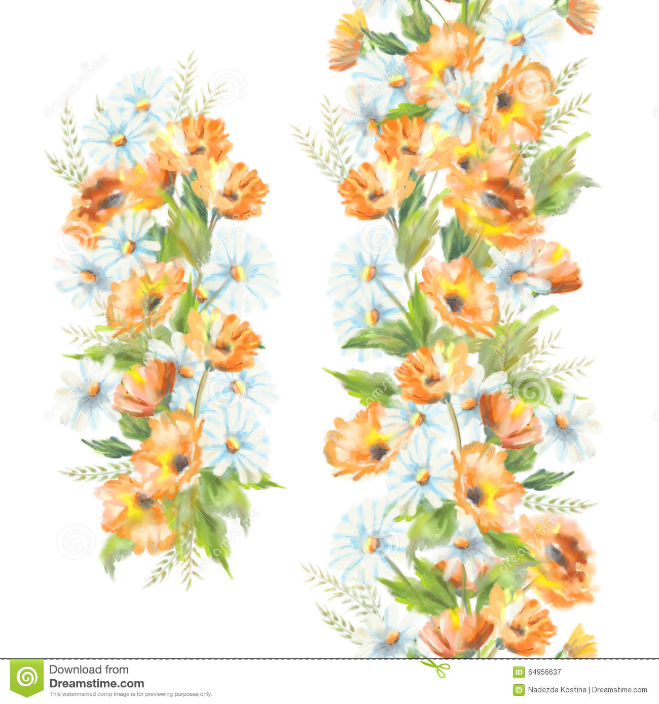 Watercolor Painted Flowers Stock Illustration