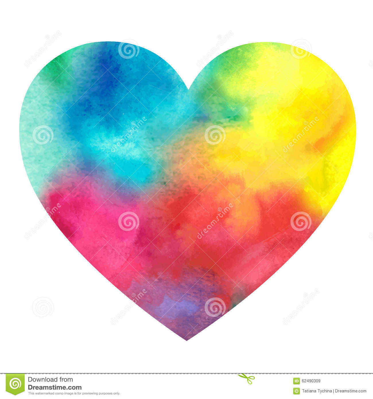 Watercolor Painted Heart On A White Background Stock