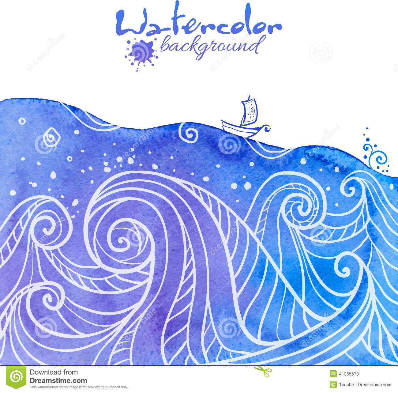 Watercolor Painted Waves With Little Boat Stock Vector Image 41365578