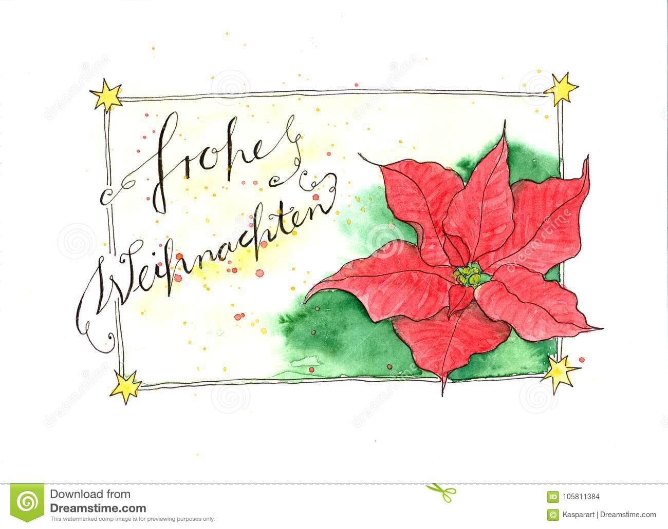 Frohe Weihnachten Text.Watercolor Painting Christmas Card With Poinsettia Flower