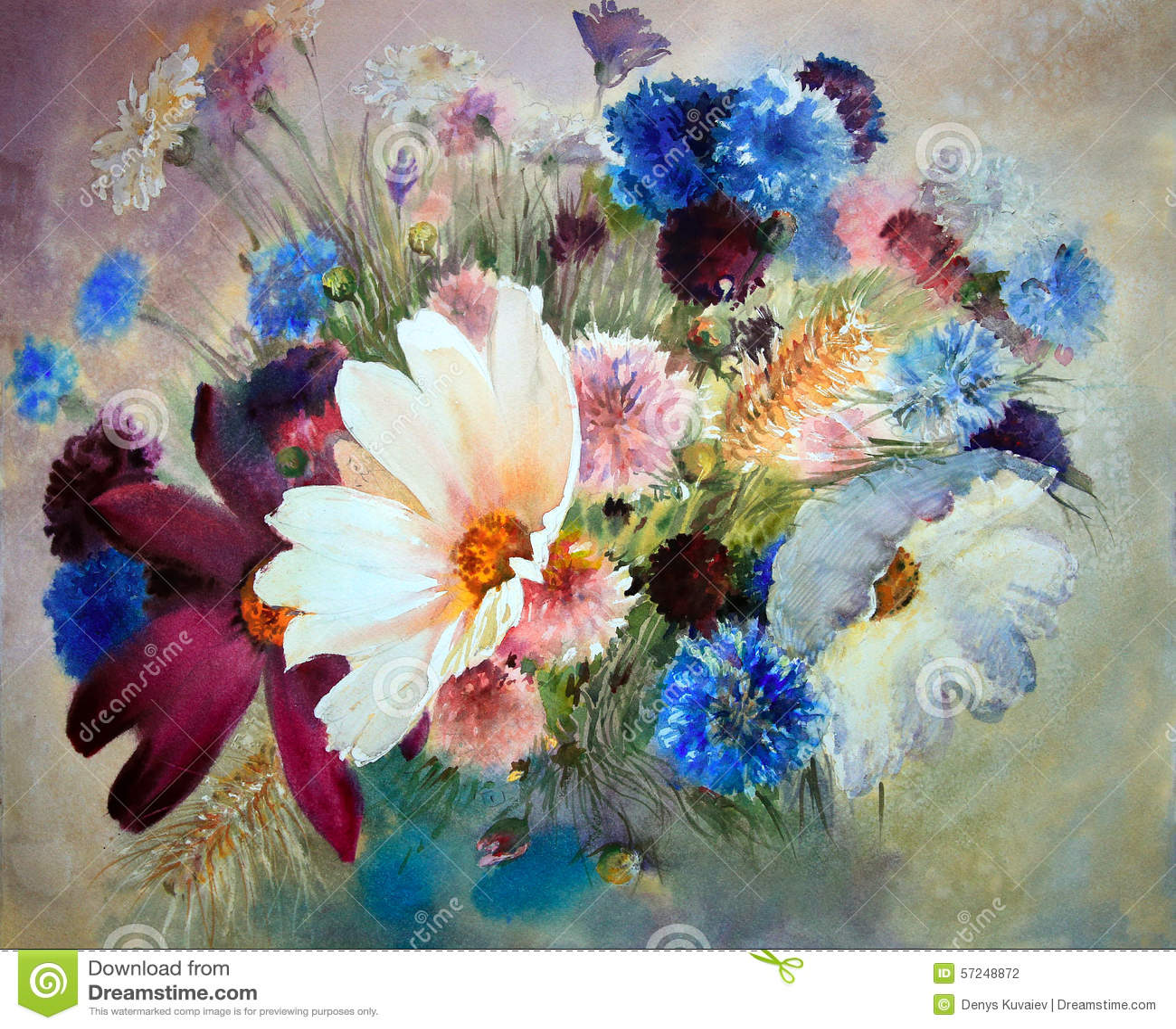 Poppy flower field watercolor painting stock illustration watercolor painting of beautiful flowers stock photography izmirmasajfo