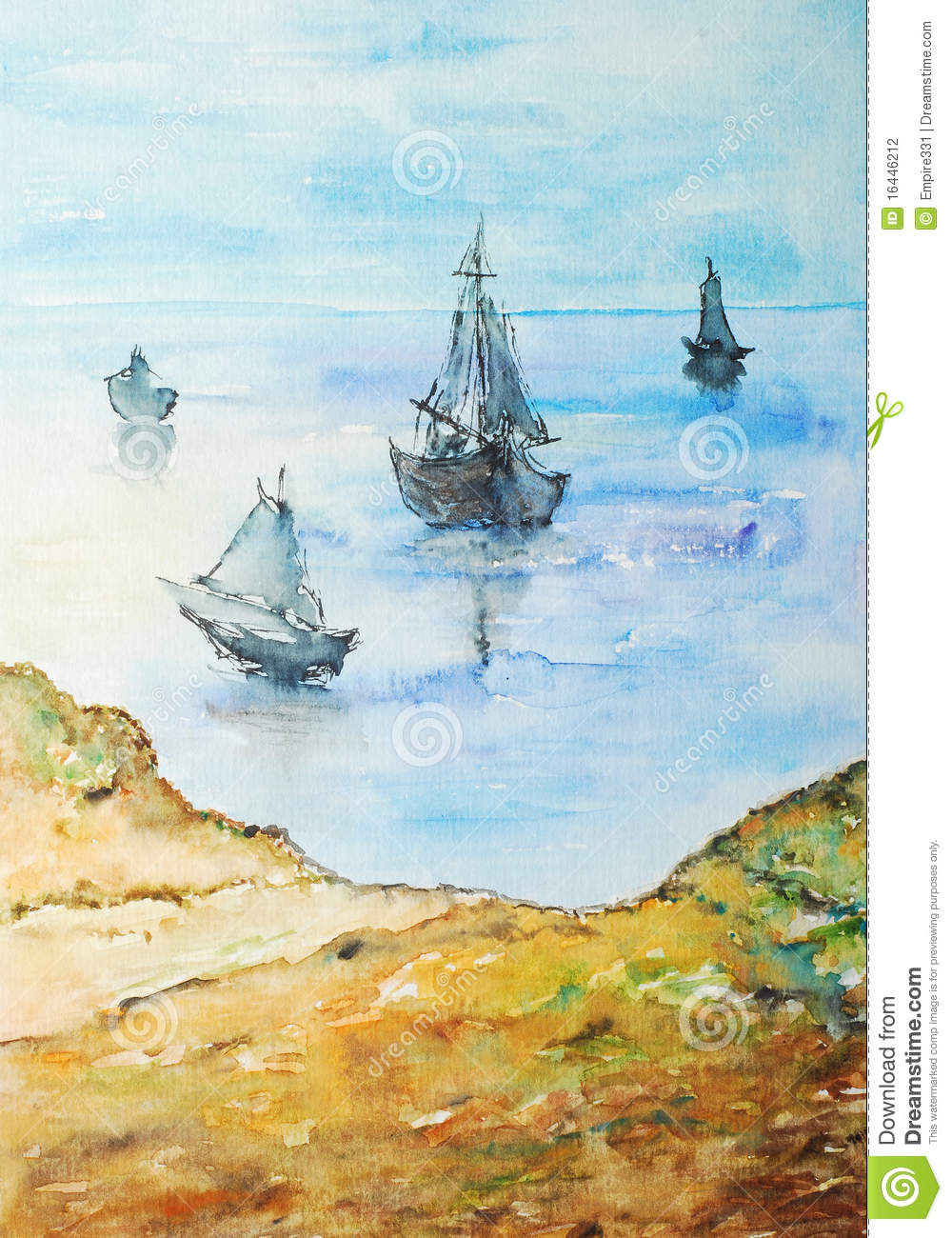 Watercolor painting, boats on the shore