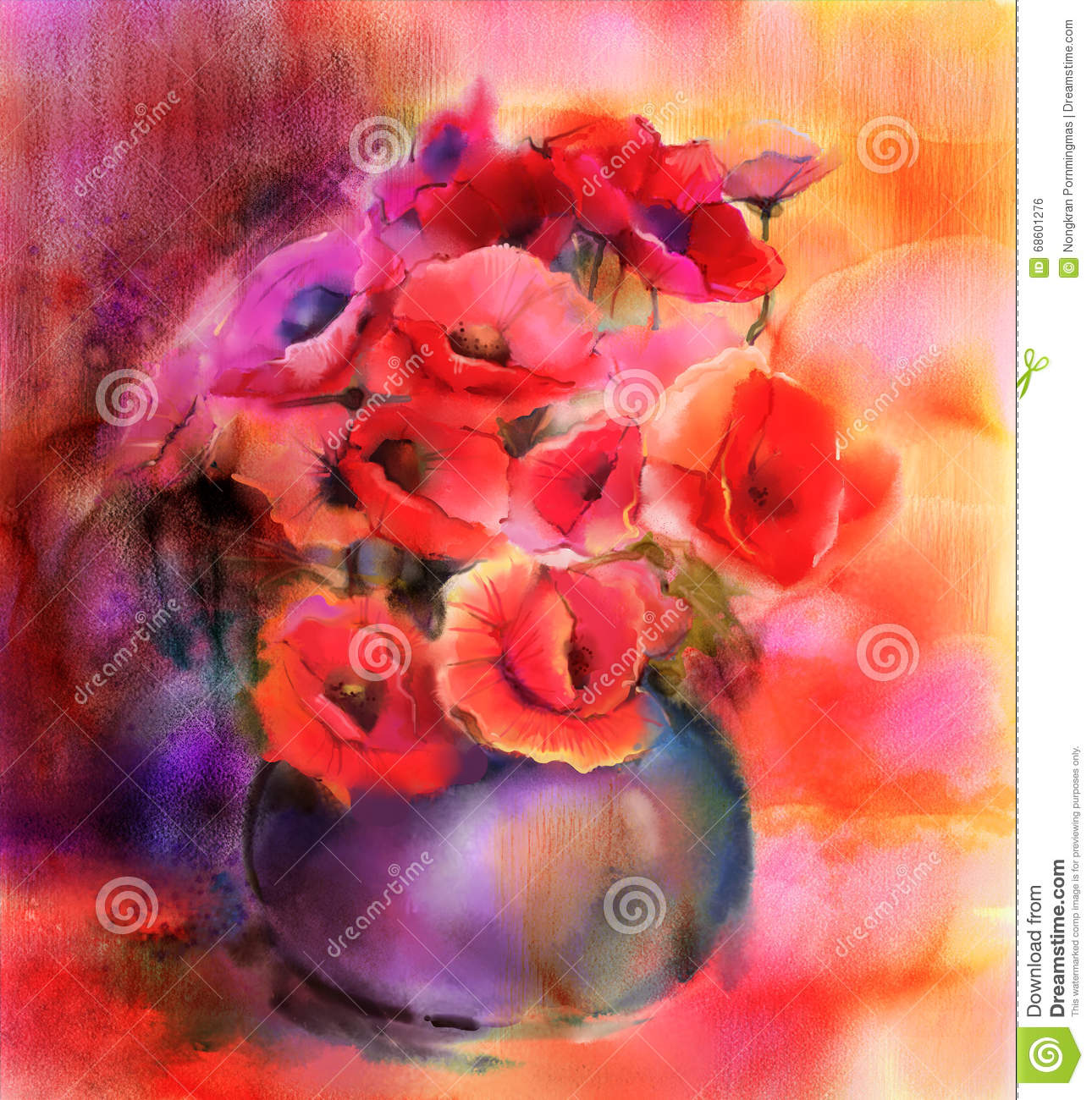 Watercolor Painting Colorful Bouquet Of Poppy Flowers In Vase Stock ...