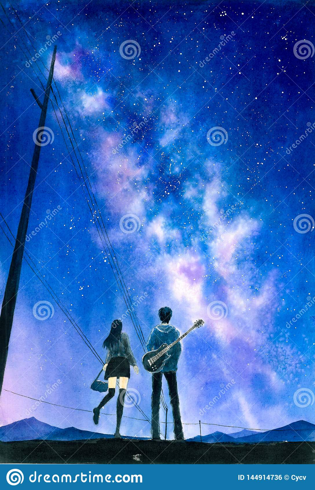 Watercolor Painting - Couple Under Starry Night Sky Stock