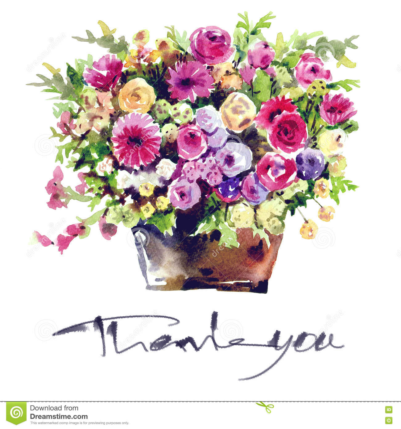 Watercolor Painting Flower Bouquets In A Vase Stock Illustration ...
