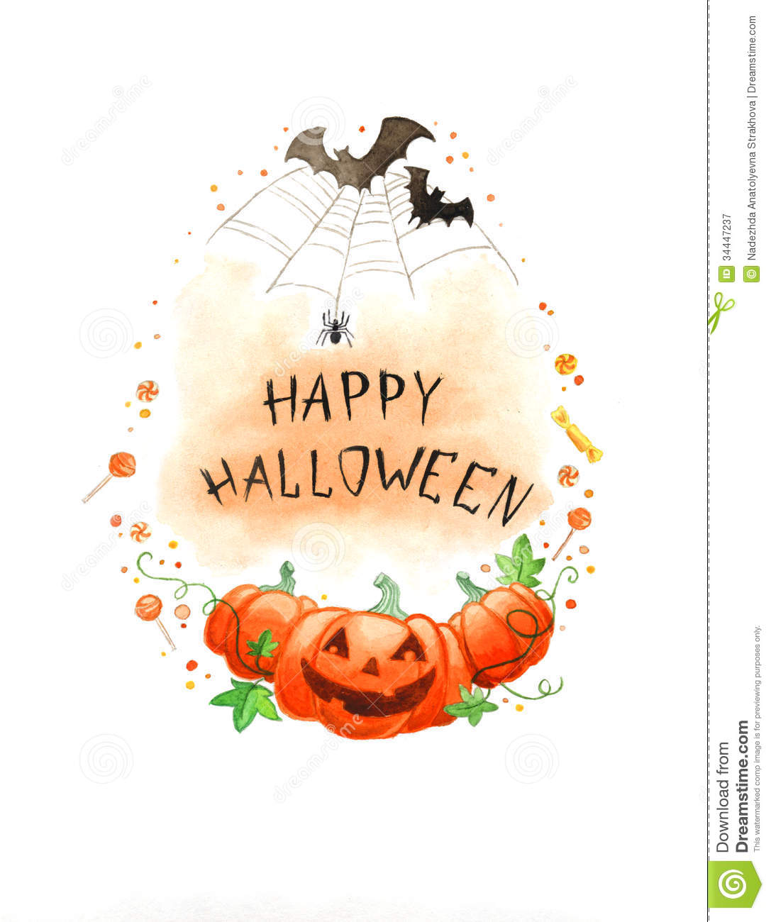 Watercolor Painting Happy Halloween Frame Stock ...