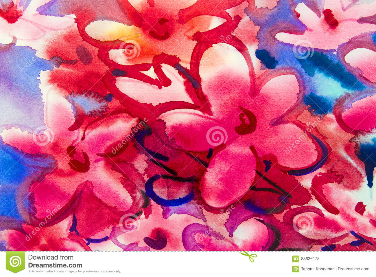 Watercolor Painting Original Flower Colorful Of Bouquet Pink Flowers ...