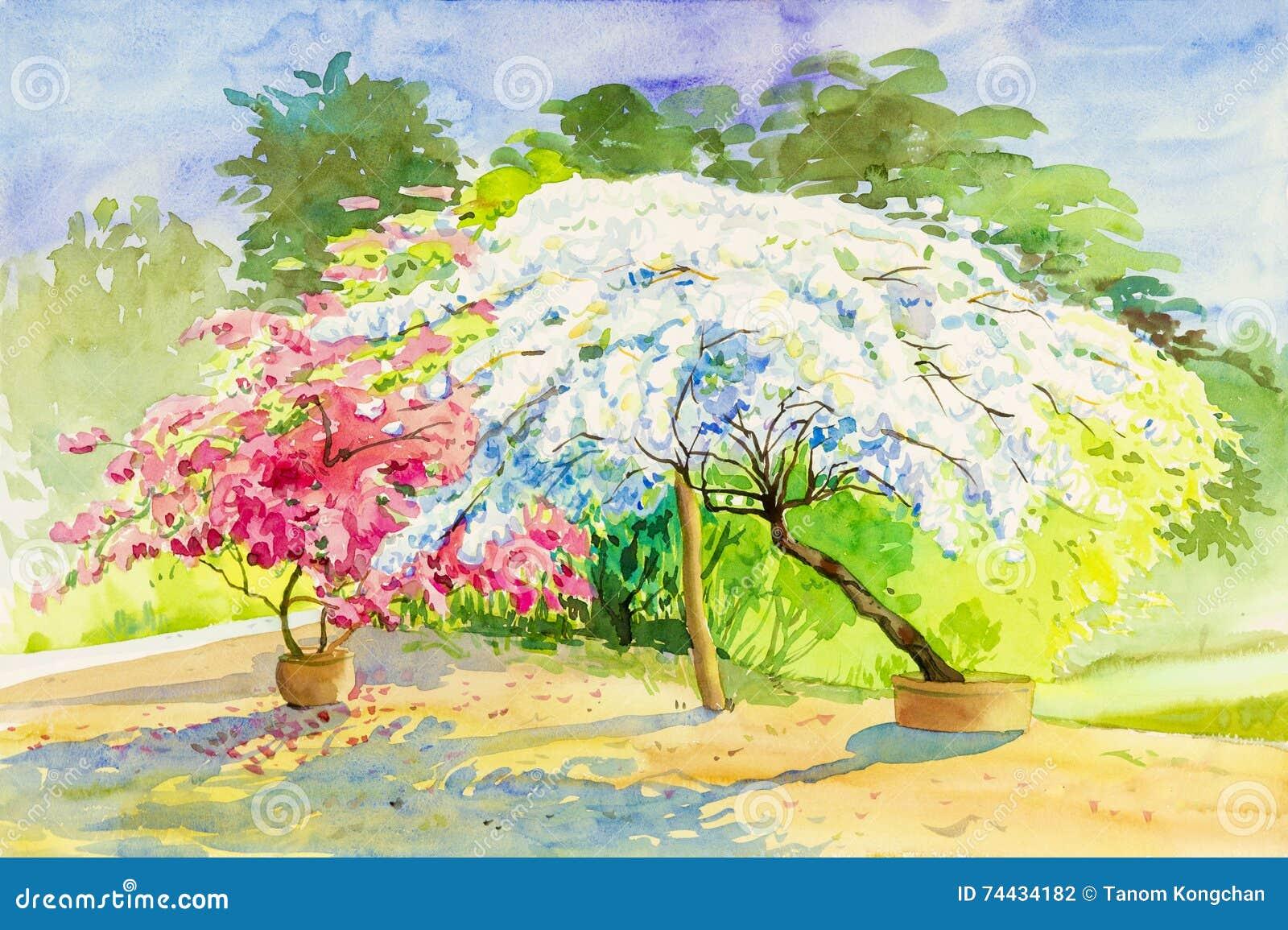 Pots of colorful cloud sky stock photo cartoondealer for Jardin a dessiner