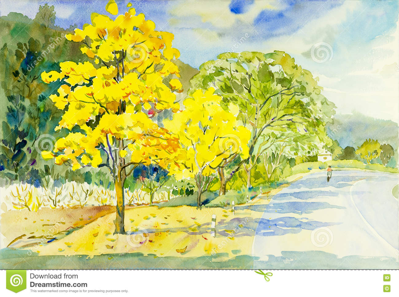 Watercolor Painting Original Landscape Yellow Color Of Golden Tree
