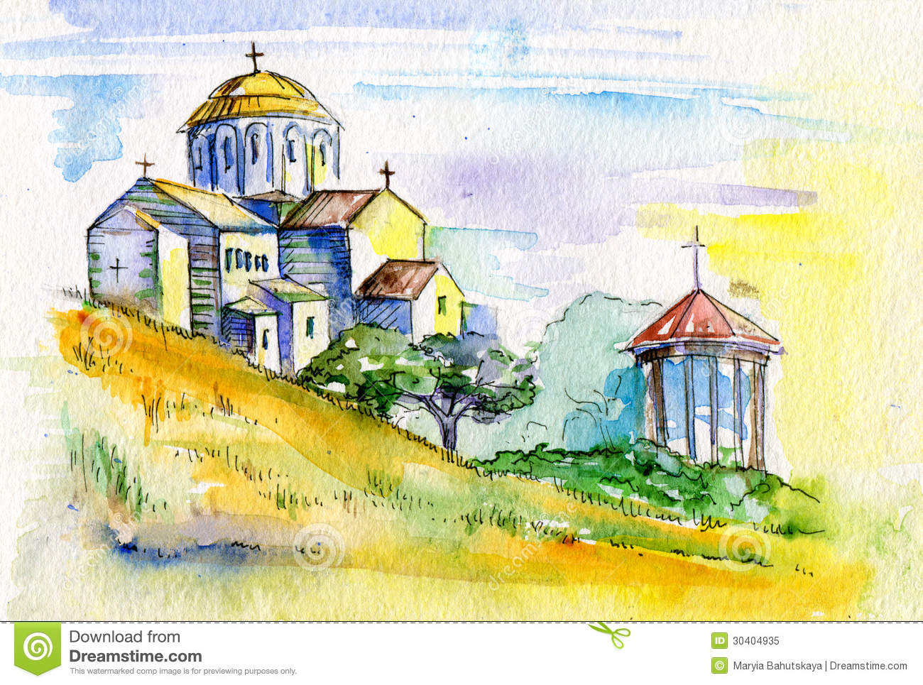 Watercolor painting orthodox church stock illustration for Watercolor paintings of hands