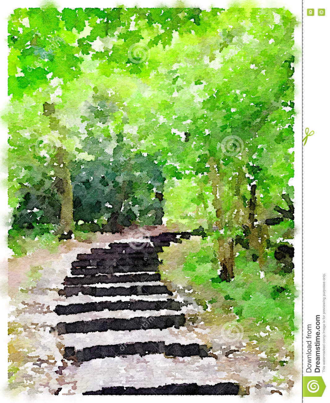 Watercolor painting of a path in the woods stock for Watercolor steps