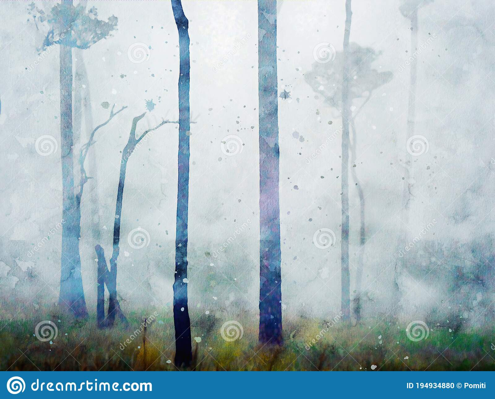 Watercolor Painting Of Pine Trees In Forest Nature Landscape Image Digital Watercolor Illustration Art For Wall Stock Photo Image Of Watercolor Trees 194934880