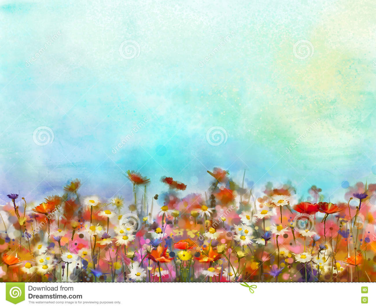 Watercolor Painting Purple Cosmos Flower Field Stock Illustration Illustration Of Hand Background 75192415