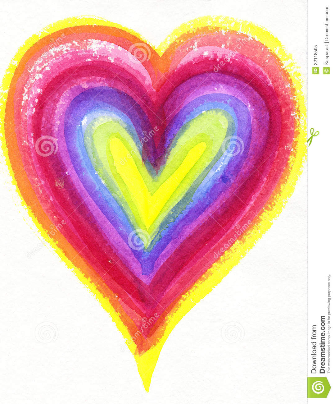 watercolor painting of a rainbow heart royalty free stock photo